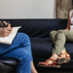 Psychotherapy session, woman talking to his psychologist